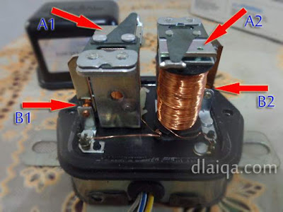 A1-B1 = voltage regulator, A2-B2 = voltage relay