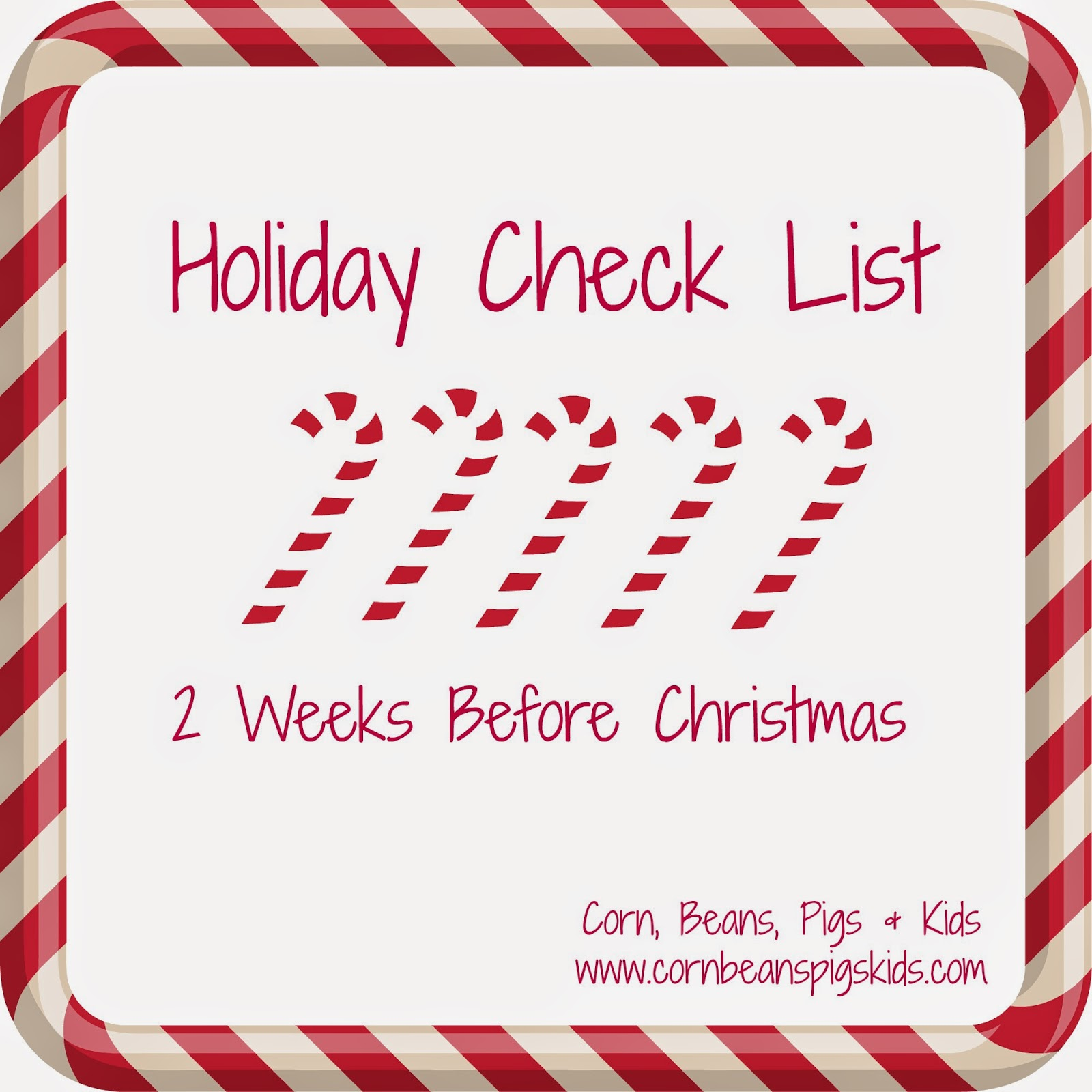 Holiday Check List - 2 Weeks Before Christmas