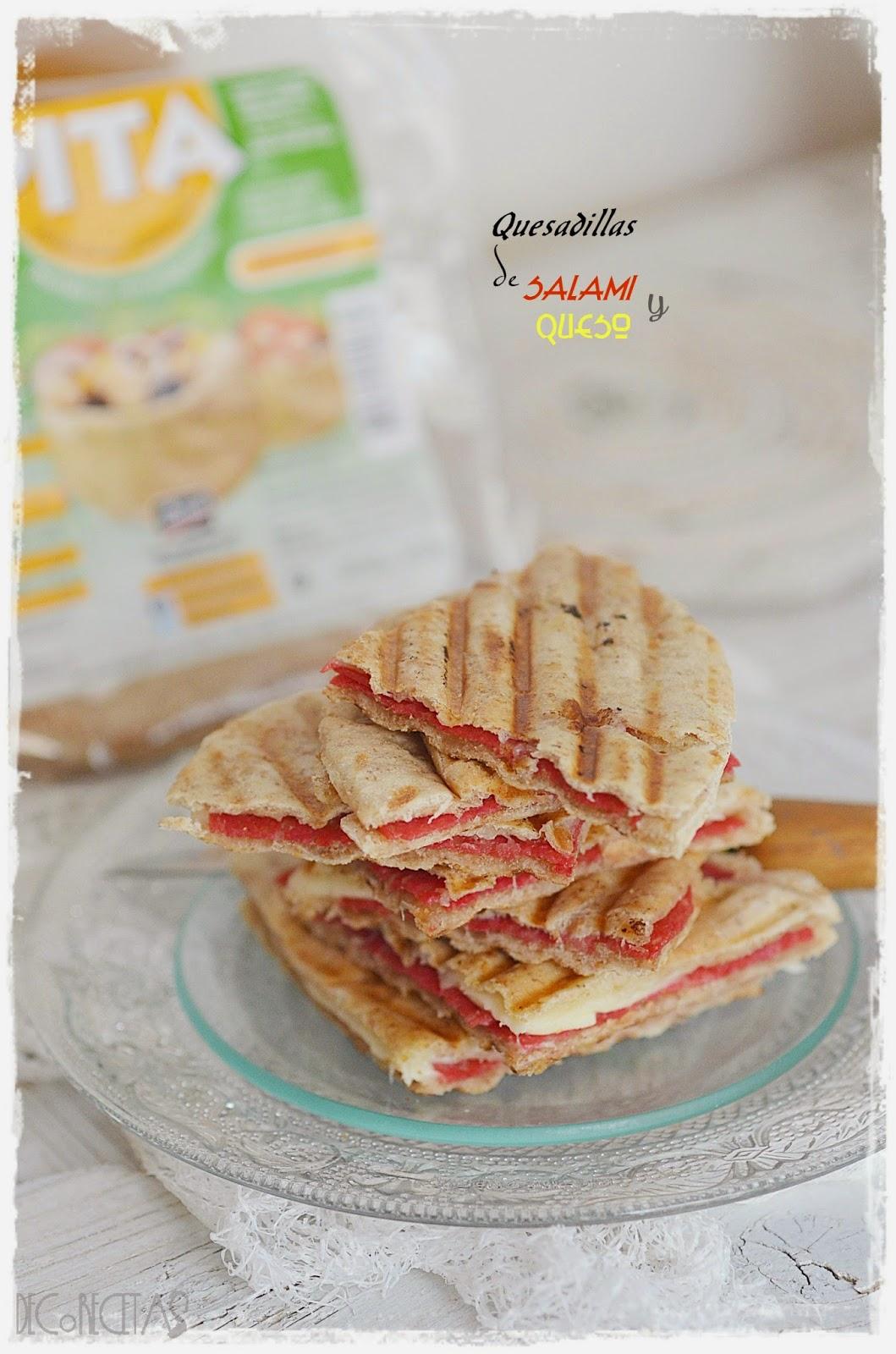 Quesadillas de salami y queso