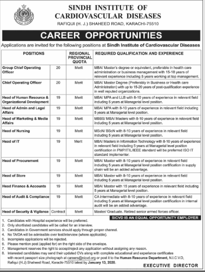 Jobs in Sindh Institute of Cardiovascular Diseases 2019 Vacancies