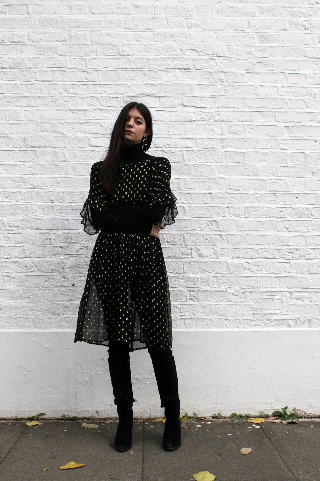 sheer dress, polka dot, gold and black, fbloggers, fashion blogger style, miss selfridge dress, uniqlo turtleneck, microinfluencer