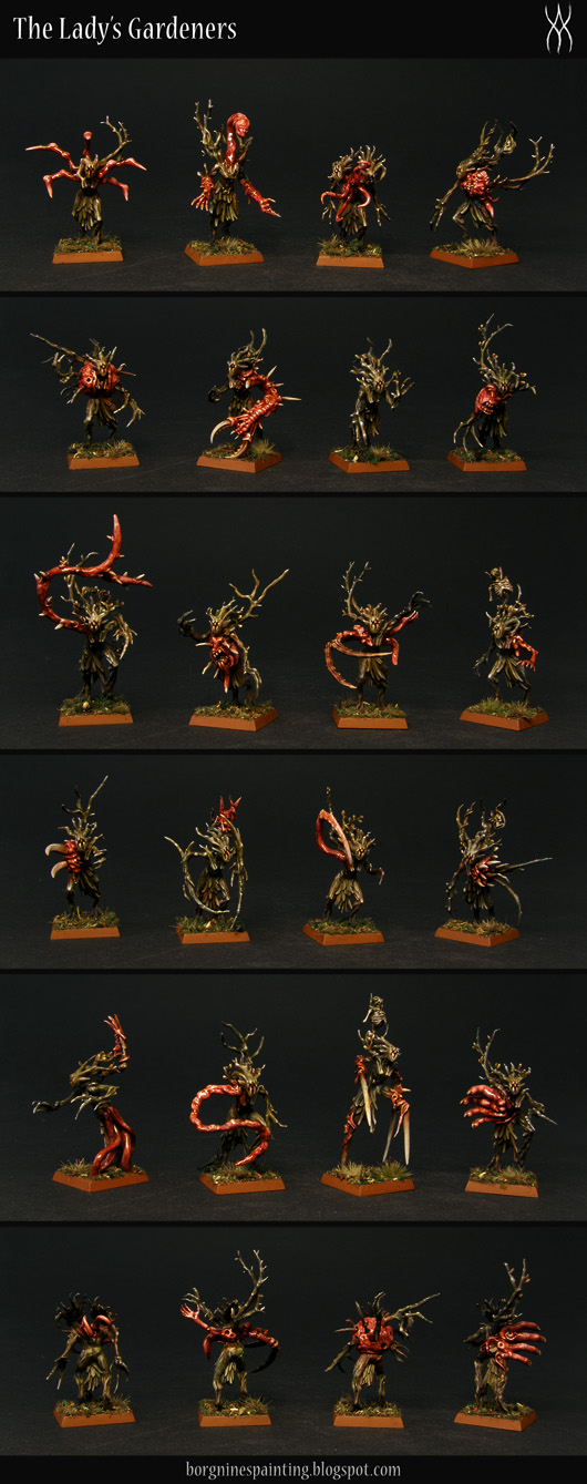 20 converted Sylvaneth Dryads on square bases - with their faces replaced with a sigil and with plenty of greenstuff and bits used to add red, fleshy tendrils, mouths, random limbs and spikes, creating a grimdark, AoS28 version of them. Here they are shown separately from the front. They are usable in WFB or AoS.