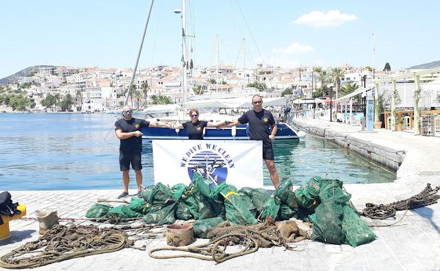 400 κιλά απορρίμματα ανέσυραν εθελοντές δύτες από το λιμάνι στα Μανδράκια Ερμιόνης