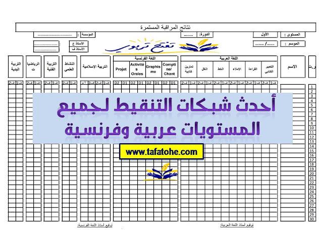 أحدث شبكات التنقيط لجميع المستويات عربية وفرنسية