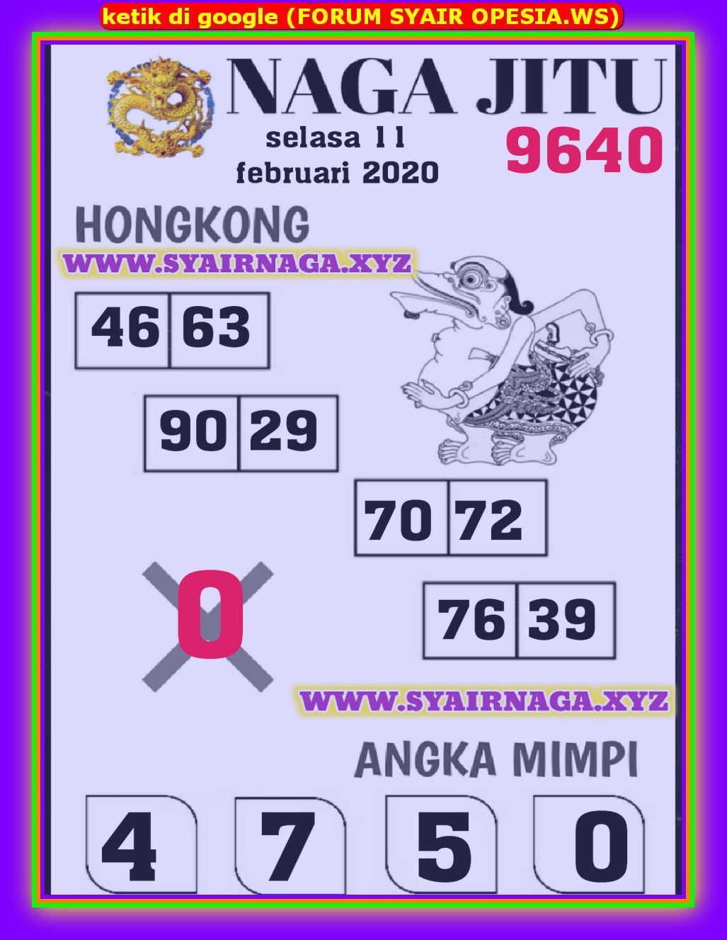 Kode syair Hongkong Selasa 11 Februari 2020 150