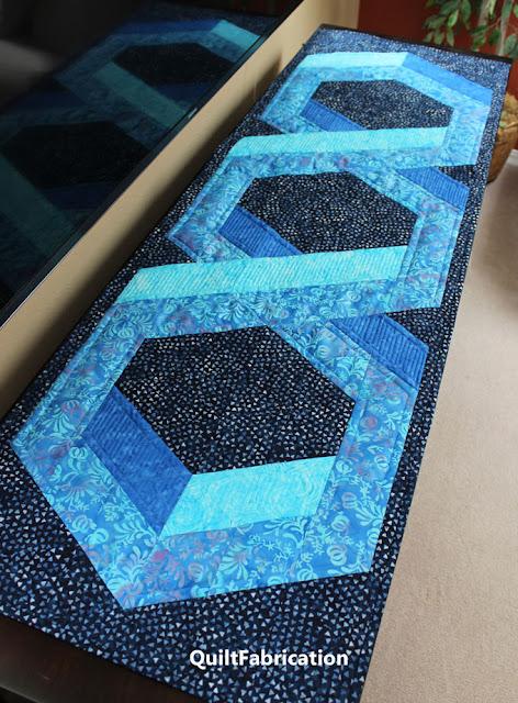 3D hexagon table runner in blue