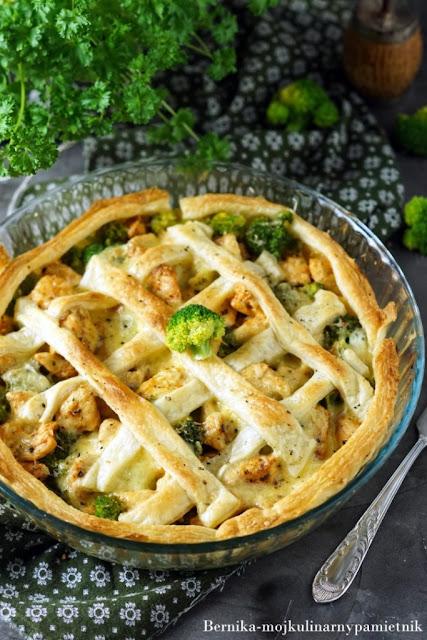 tarta, kurczak, brokuły, obiad, bernika, kulinarny pamietnik, zapiekanka, pierś