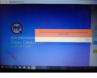 Gambar tampilan Gagal login Aplikasi EDS