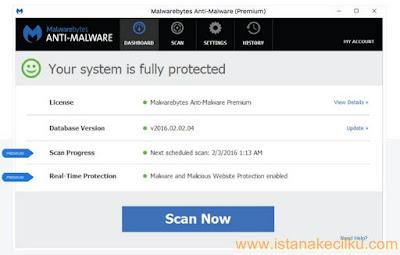 Malwarebytes Anti-Malware ini membantu untuk menghilangkan malware seperti Trojan, worm, spyware, r*otkit, rogues, dan banyak lagi. Anda hanya cukup men-download dan menginstal Malwarebytes Anti-Malware kemudian menjalankan scan. Jika Anda ingin mendapatkan lebih banyak fitur, belilah versi premium nya. Terdapat fitur instan scanner real-time yang secara otomatis mencegah malware dan situs untuk menginfeksi komputer Anda.