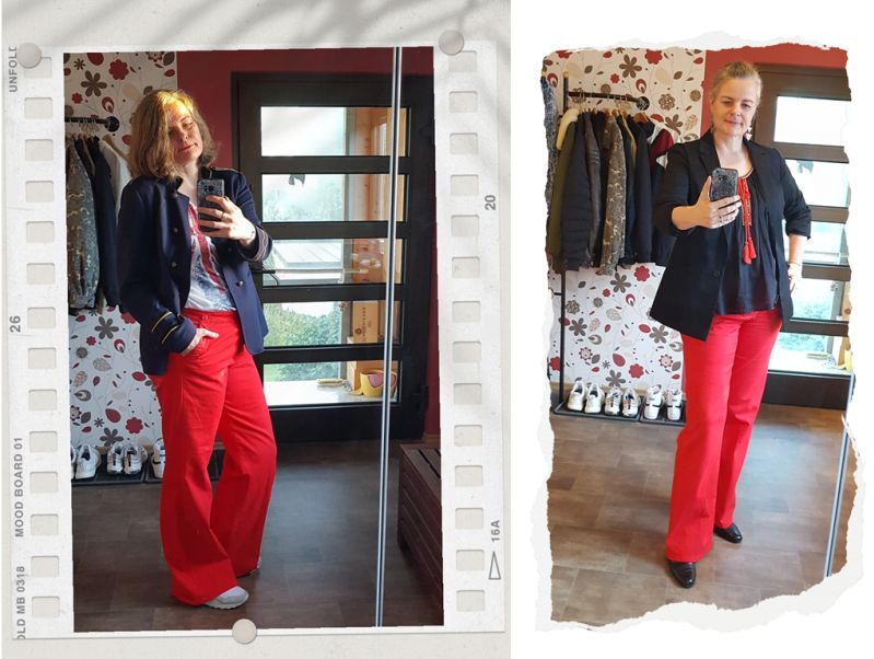 Neues in 2020: rote Sailor-Jeans