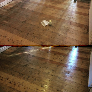 Waxed floorboards