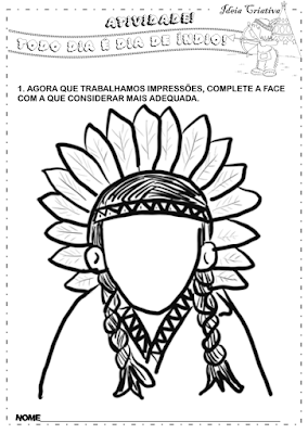 Atividade  dia do índio para imprimir expressões
