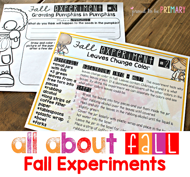 fall lesson plans - experiments
