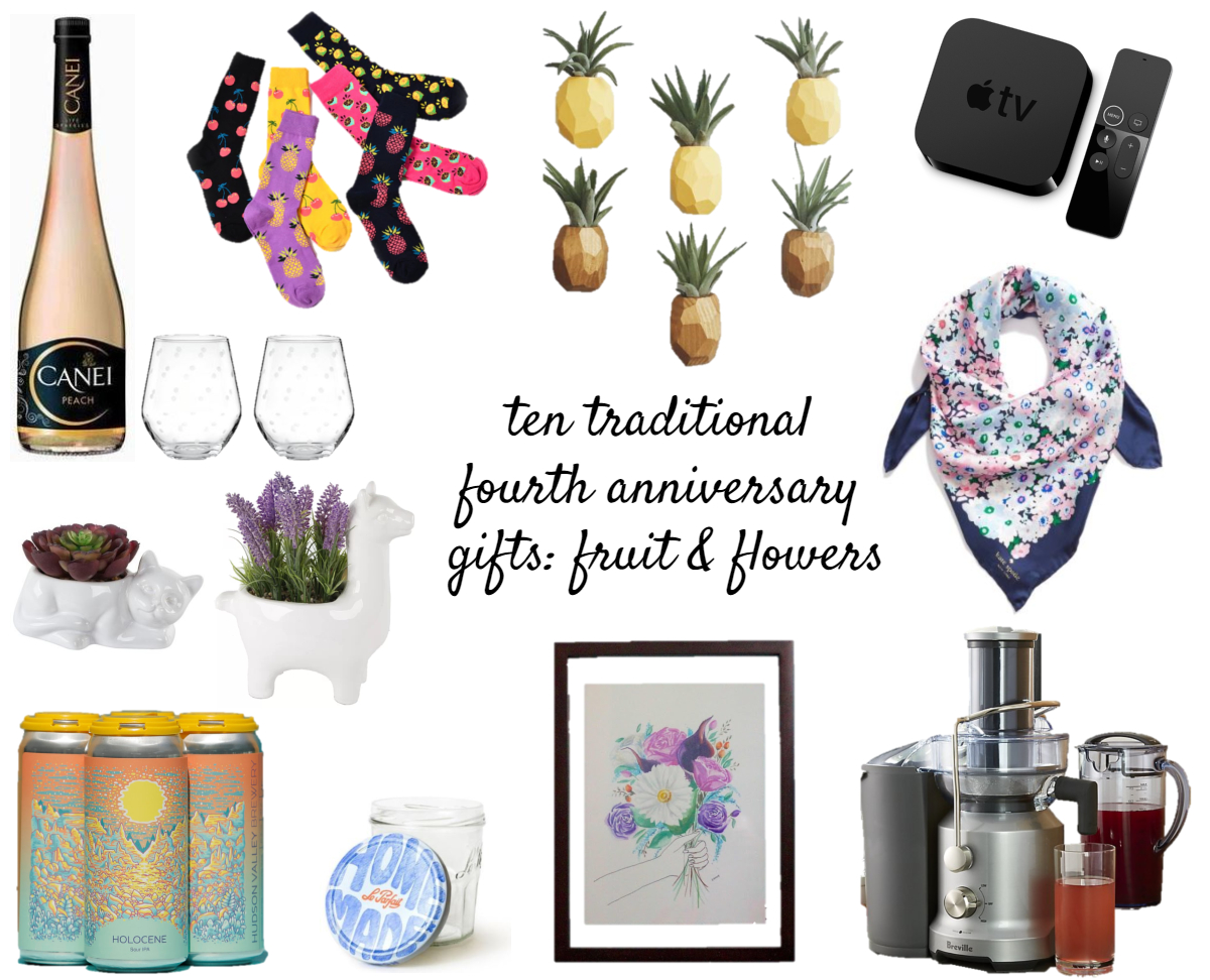 borrowed heaven fourth anniversary gifts fruit flowers