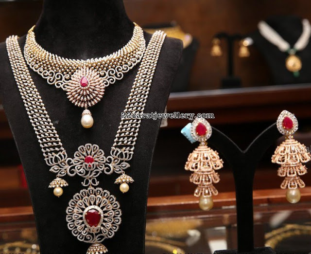 Diamond Long Chain with Three Step Jhumkas