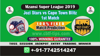 Who will win Today MSL T20 2019, 1st Match JOZ vs CTB 1st, Mzansi 2019 - MSL T20