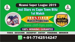 Who will win Today MSL T20 2019, 1st Match JOZ vs CTB 1st, Mzansi 2019 - MSL T20