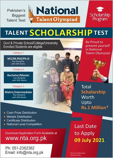 National Talent Olympiad Pakistan Scholarship | NTPA Scholarship 2021