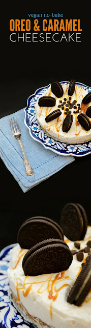 Vegan No-Bake Oreo and Caramel Cheesecake. www.tinnedtomatoes.com