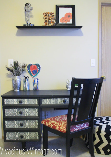 Black midcentury modern desk & red damask chair!