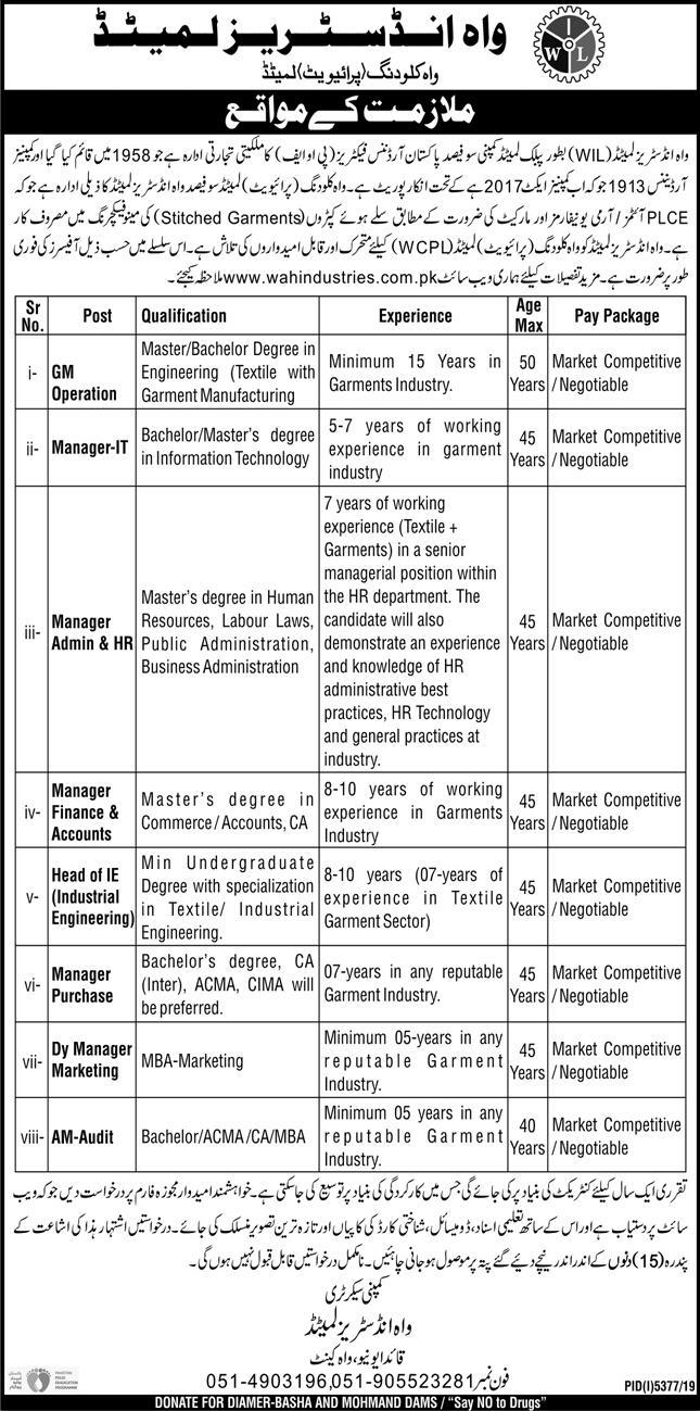 Jobs in Wah Industries Limited Wah Cantt