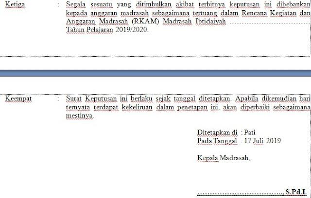 MS. Word Contoh SK Pengangkatan Operator E-Learning Madrasah