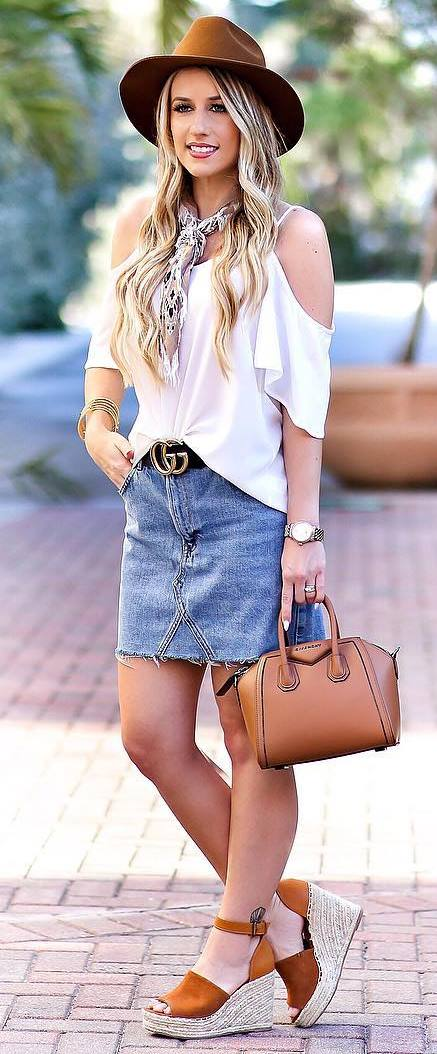 simple summer outfit: hat + top + denim skirt