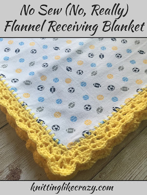 Knitting Like Crazy: No Sew Crochet Flannel Receiving Blanket