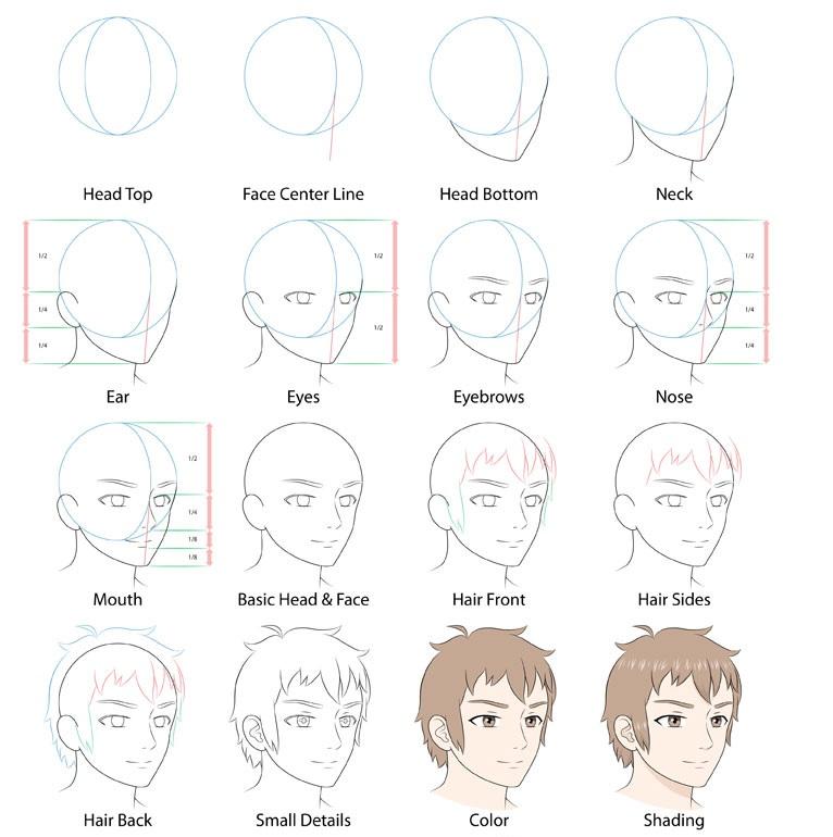 Anime pria wajah 3/4 tampilan menggambar langkah demi langkah