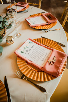 wedding place settings with fun charge and menus