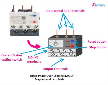overload relay diagram terminals