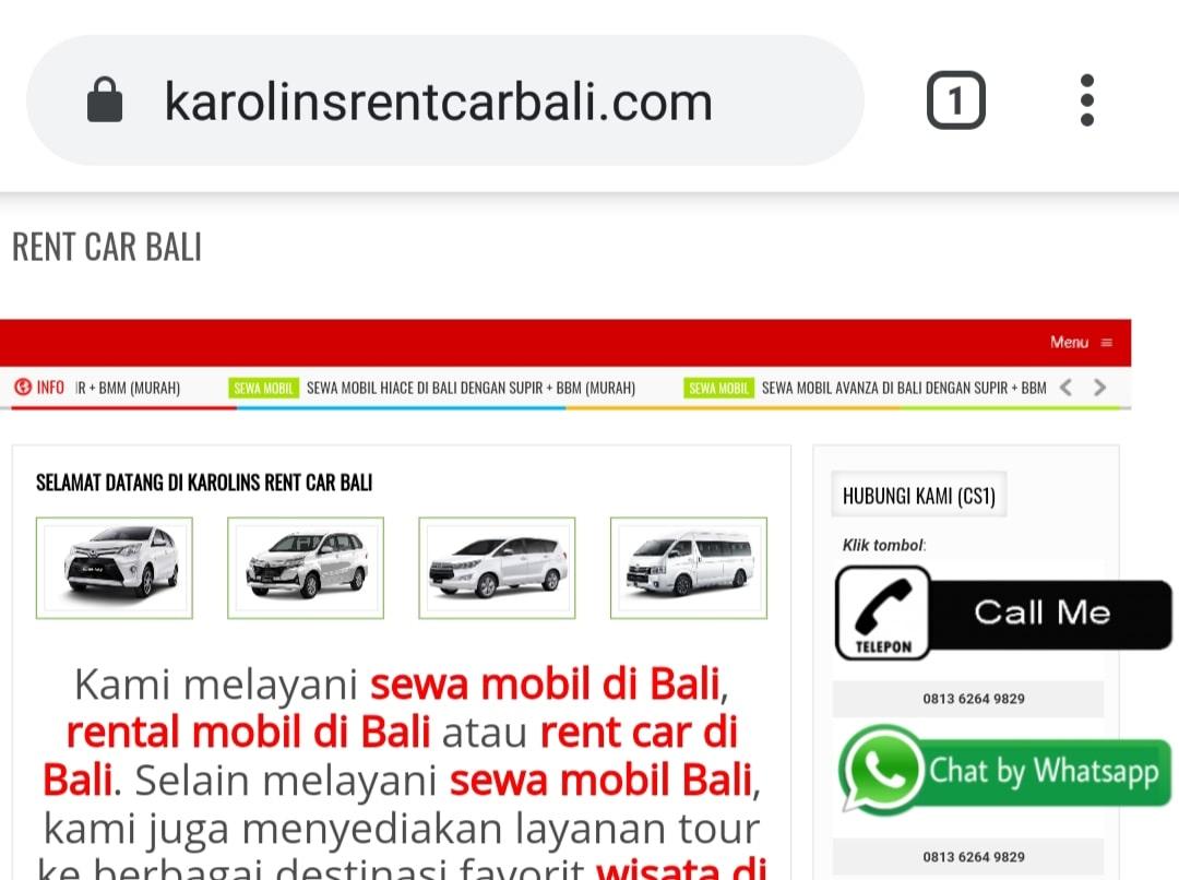 Website Rent Car Bali By Bayu-Media Web & Ads
