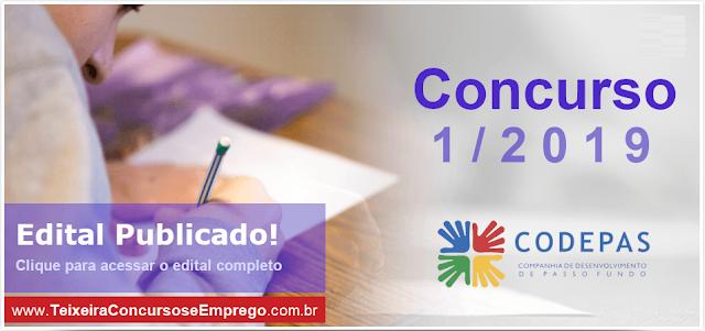 CODEPAS Edital - Concurso Passo Fundo 2019