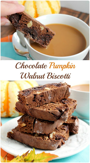 These Chocolate Pumpkin Walnut Biscotti are perfect for dunking in a warm cup of coffee on a chilly fall morning.
