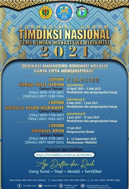 Temu Ilmiah Mahasiswa Bidikmisi (Timdiksi) Nasional 2021