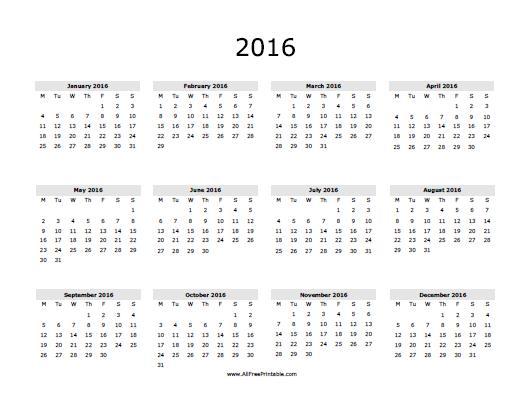 Printable Calendar 2016: Download^^ Printable Blank Calendar 2016 ...