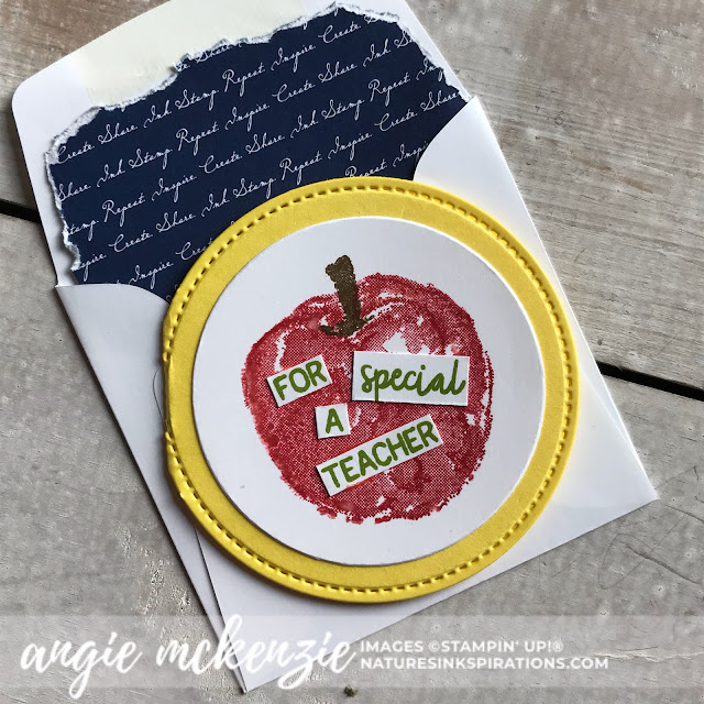 By Angie McKenzie for JOSTTT008 Design Team Inspirations; Click READ or VISIT to go to my blog for details! Featuring the retired Picked for You Stamp Set, Layering Circles Dies, Stitched Shapes Dies; #apples #pickedforyoustampset #envelopedesigns #stationerybyangie #teachercards #circlecards #makingotherssmileonecreationatatime #cardtechniques #stampinup #handmadecards
