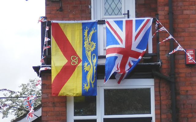 Staffordshire flag, and UK flag