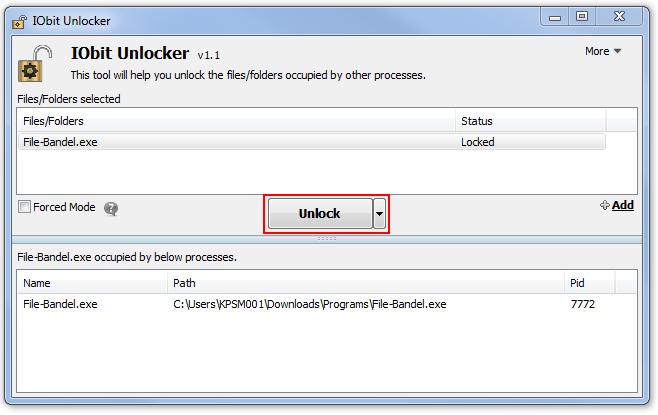 Klik Unlock