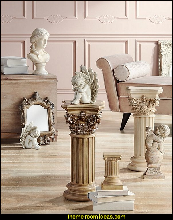column pedestal  mythology theme bedrooms - greek theme room - roman theme rooms - angelic heavenly realm theme decorating ideas - Greek Mythology Decorations -  angel wall lights - angel wings decor - angel theme bedroom ideas - greek mythology decorating ideas - Ancient Greek Corinthian Column - Spartan Warrior Gladiators - Greek gods - Angel themed baby room - angel decor - cloud murals - heaven murals - angel murals ethereal - greek key pattern - cupid theme bedrooms - cherub throw pillows - greek roman decor  - Column Wall Sculpture -  French Provincial furniture