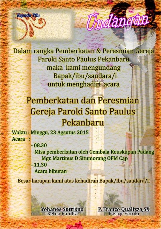 Gereja Katolik St Paulus Pekanbaru akan Diresmikan 23 Agustus 2015
