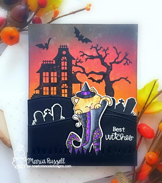 Cat in Witch Boot Halloween Card by Maria Russell | Witchy Newton and Spooky Street Stamp Sets by Newton's Nook Designs #newtonsnook #handmade