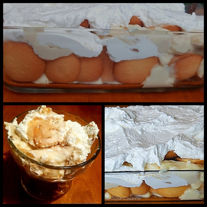 Layers of homemade pudding in a glass dessert cup with bananas, vanilla wafers, old fashioned homemade pudding, old fashioned banana pudding layered with whipped cream, nilla wafers and fresh slices of banana dessert