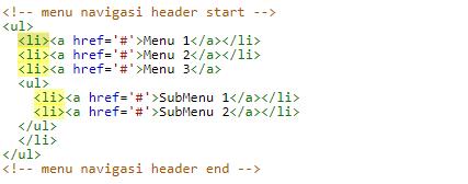 Kode HTML Navigasi Menu Template Blog