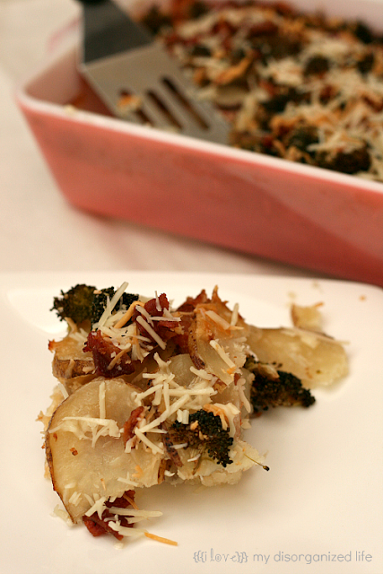 Bacon Broccoli Potatoes Au'Gratin from {i love} my disorganized life #baconmonth #bacon #potatoes
