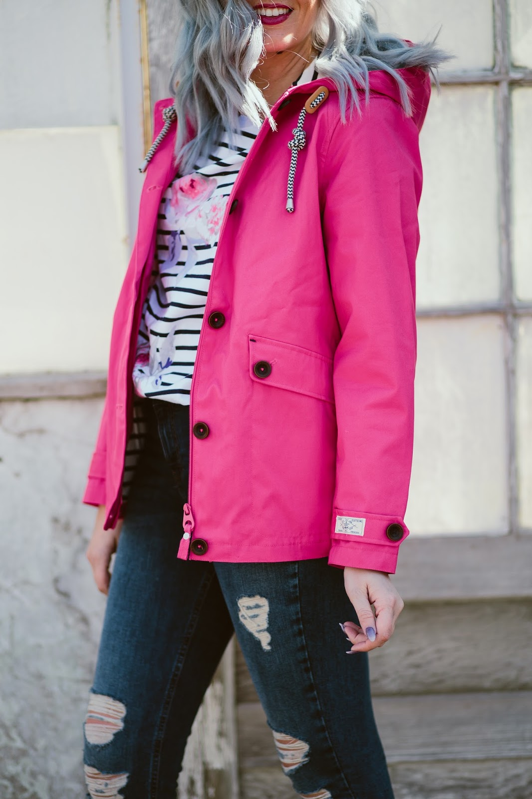 Rain Jacket, Pink Rain Jacket, Rainy Day Outfit