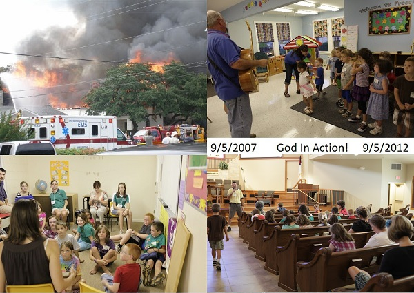 On September 5, 2007, First Baptist Church burnt to the ground. The church was without a sanctuary for a couple of years, and did not host an Awana club for a long while (the club was hosted at another church in Dripping Springs for that period). 5 years later to the day, Awana returned to FBC. God's hand at work!