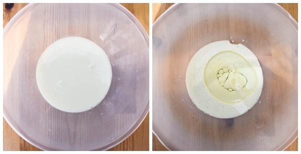 Blueberry ginger muffins - step 1 - milk, vinegar and oil