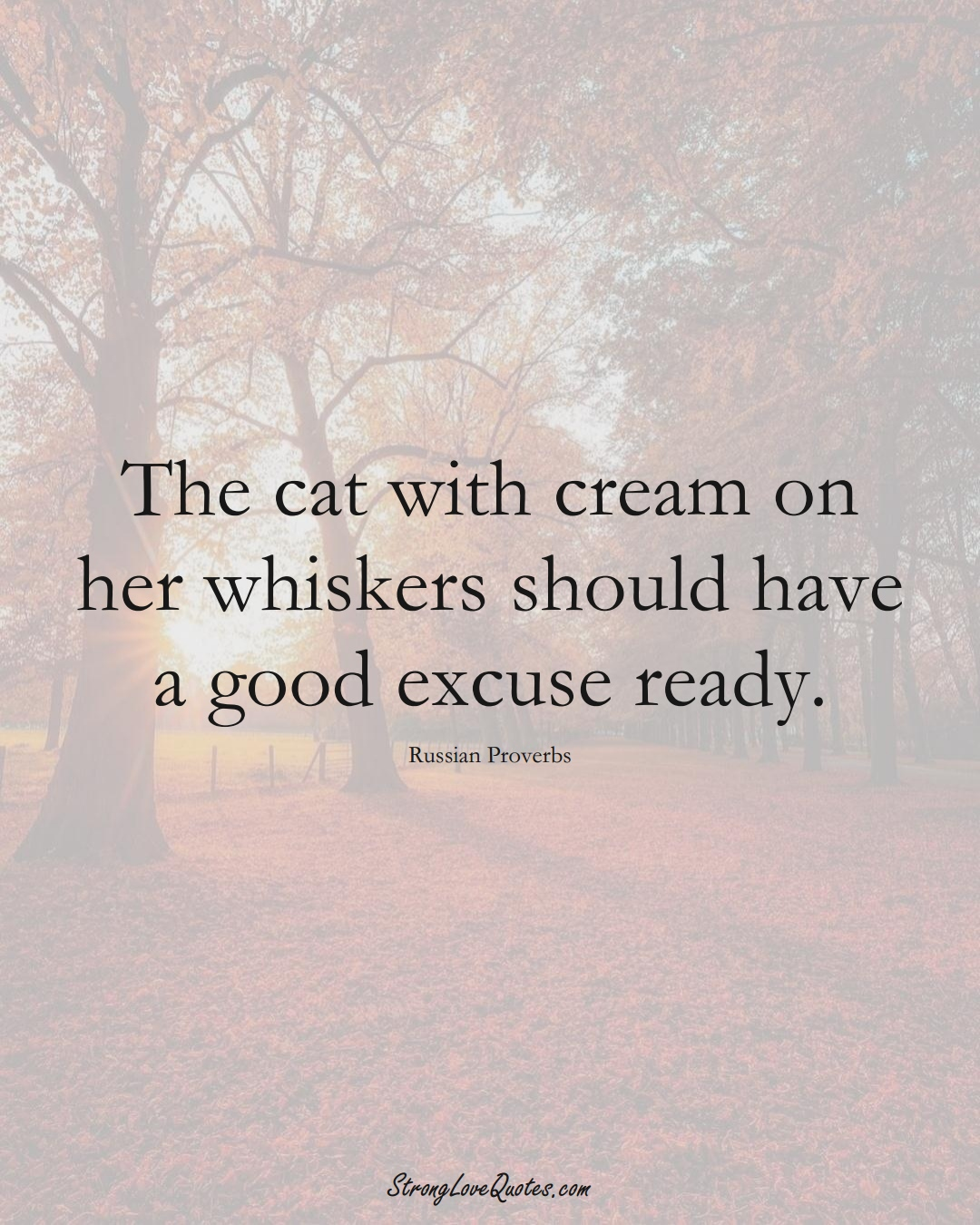 The cat with cream on her whiskers should have a good excuse ready. (Russian Sayings);  #AsianSayings