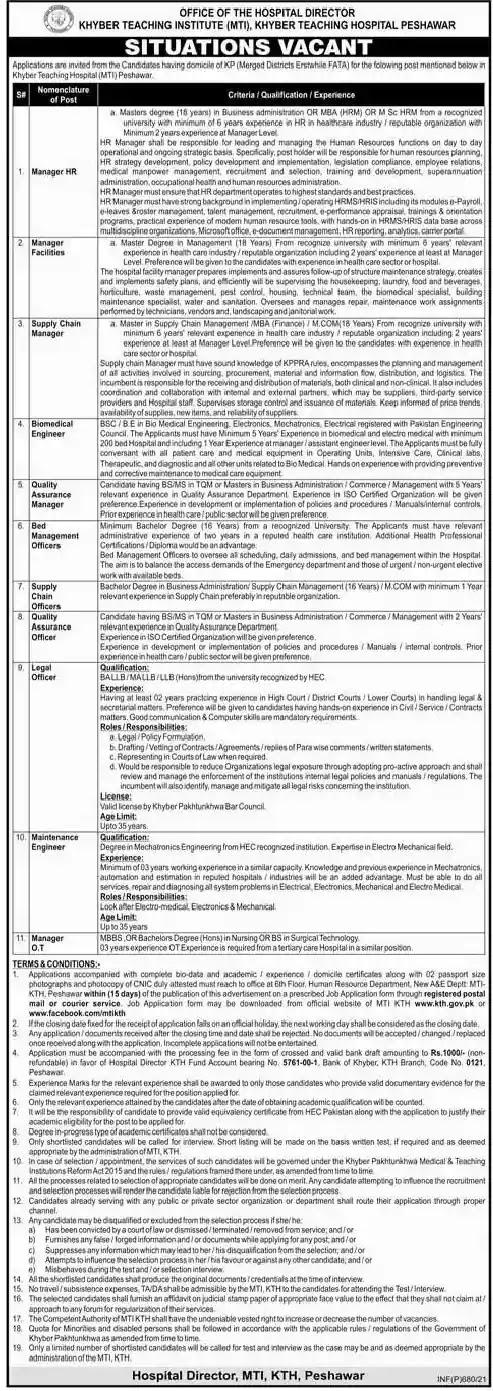 Latest Jobs in Pakistan Medical Teaching Institution Jobs 2021